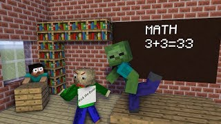 Monster School Herobrine and Baldi MATH Teaching Minecraft Animation