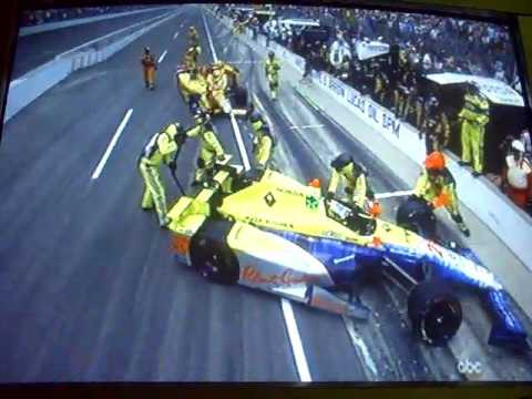 2016 Indianapolis 500 - Townsend Bell and Ryan Hunter-Reay Crash Exiting Pit Road