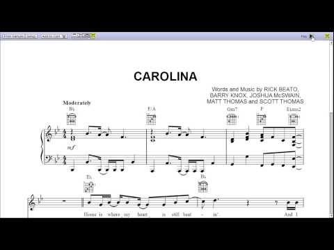 Carolina by Parmalee - Piano Sheet Music:Teaser