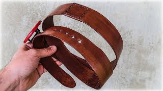 Simple Leather Belt Made Of Short Leather Pieces. DIY