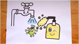 رسم فيروس كورونا يبكي لانه خائف من صنبور الماء والصابون رسم صنبور الماء Youtube
