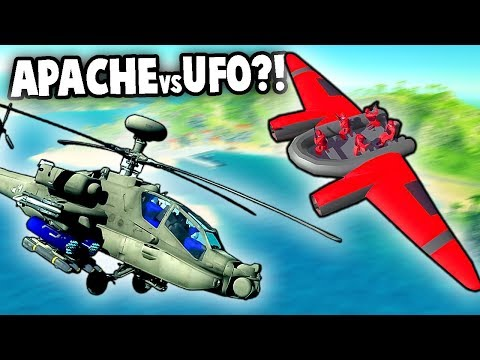 NEW mystery UFO vs Apache Helicopter!  (Ravenfield New Update Mod Gameplay)