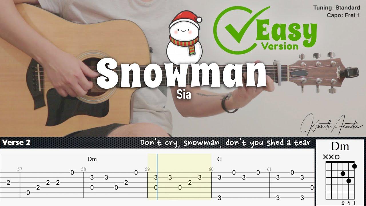 Snowman (Easy Version) - Sia | Fingerstyle Guitar | TAB + Chords + Lyrics