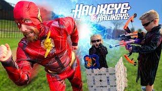 Hawkeye vs Hawkeye Nerf Bow Challenge & Super Hero Gear Test! (Future Flash Returns) | KIDCITY