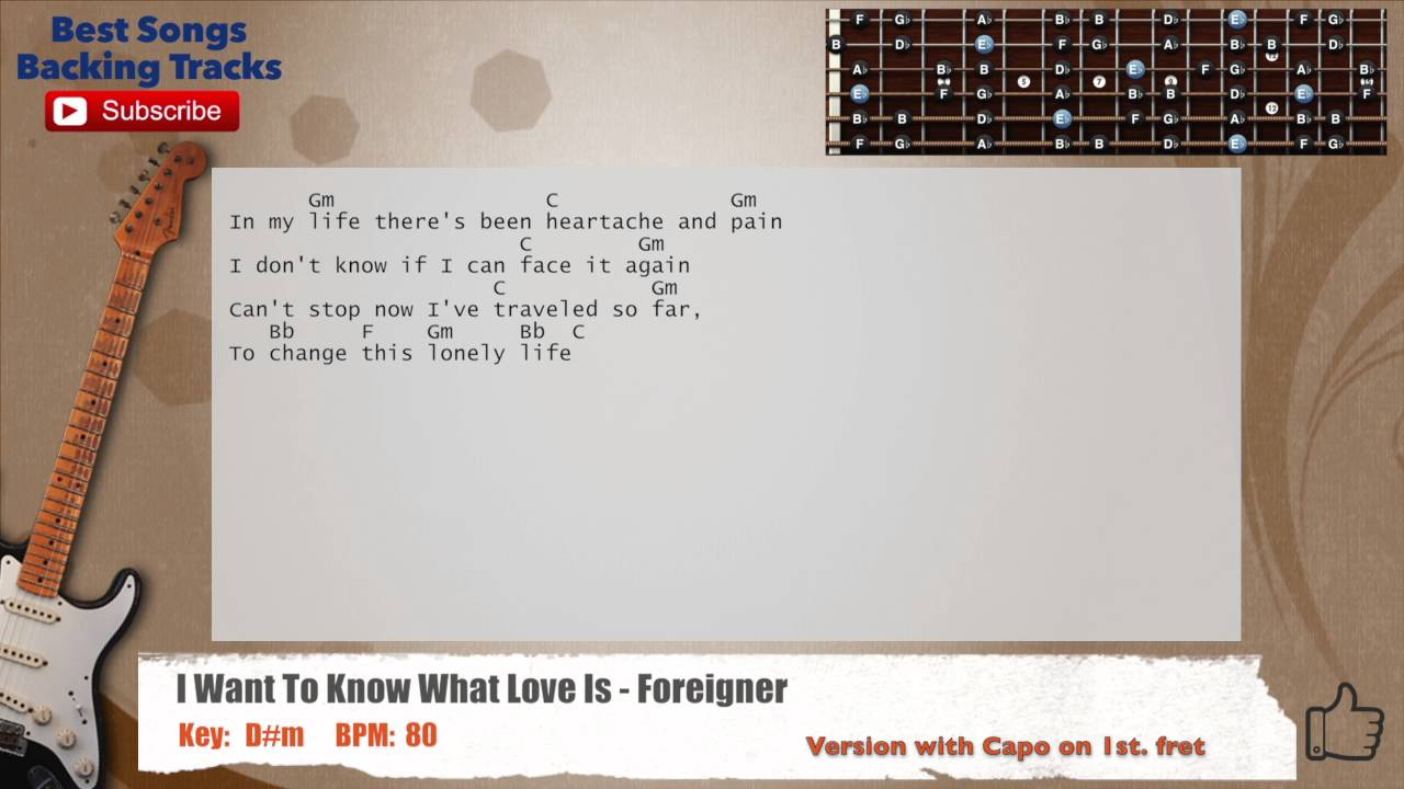 I Want To Know What Love Is Foreigner Guitar Backing Track With
