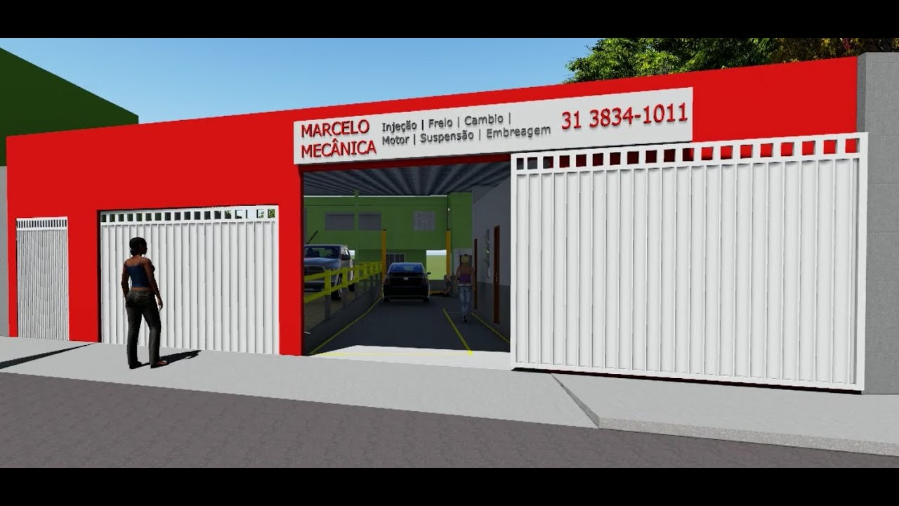 Maquete 3d reforma oficina mec nica marcelo itabira for Imagenes de fachadas de oficinas modernas