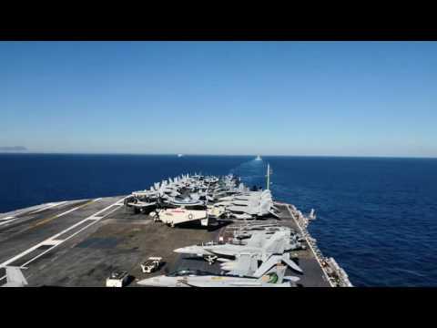 USS Dwight D  Eisenhower Strait of Gibraltar Transit Timelapse: June 13, 2016