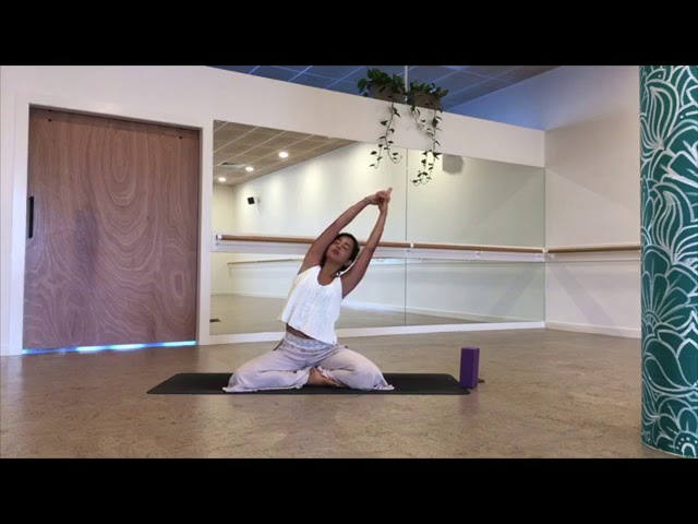 Yoga stretch with Nalini Tebbey