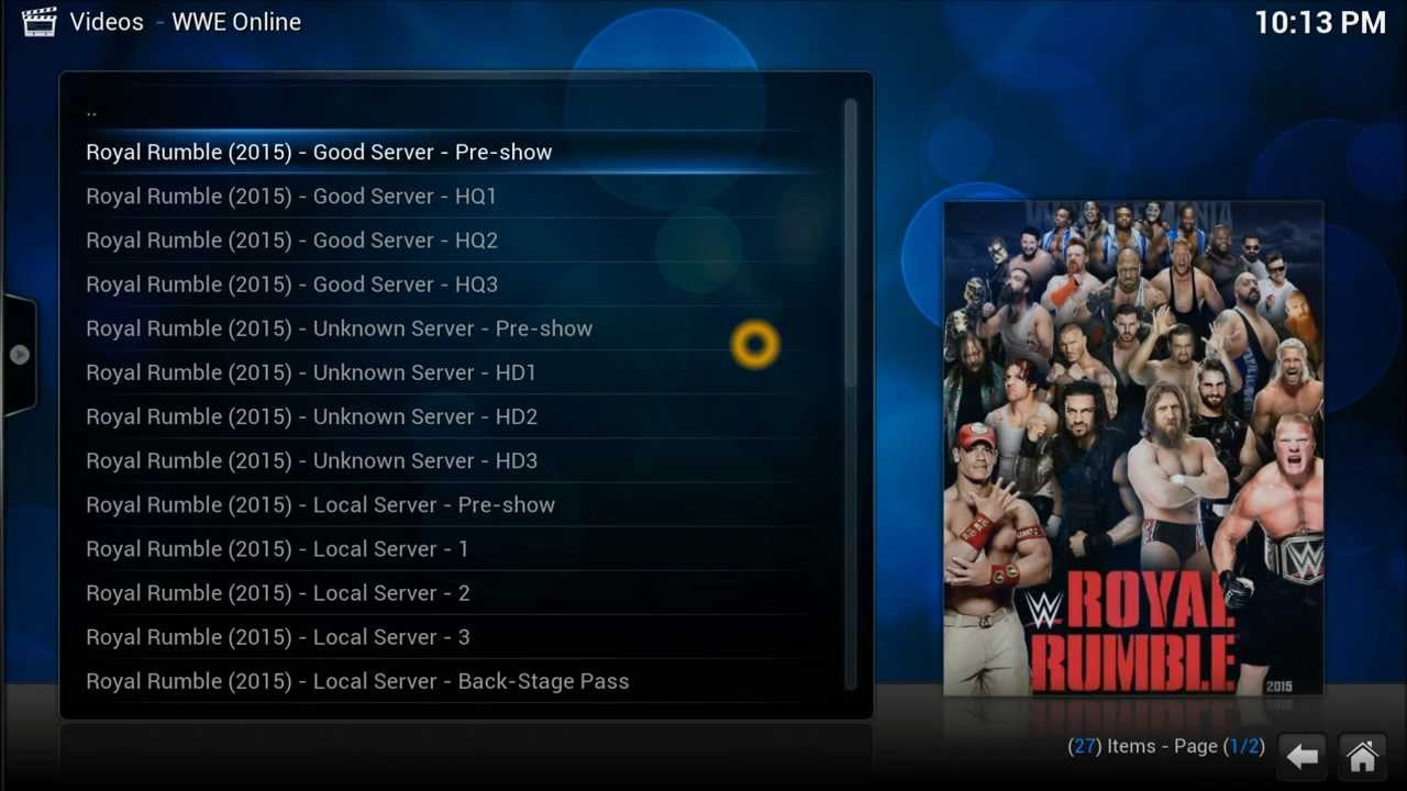 WWE on Kodi