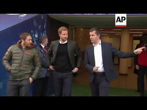 Prince Harry meets England rugby team at open training session