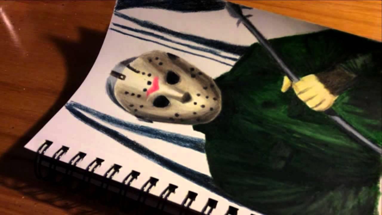 "Speed Colored Pencil Drawing | Halloween: ""Jason Voorhees ..."