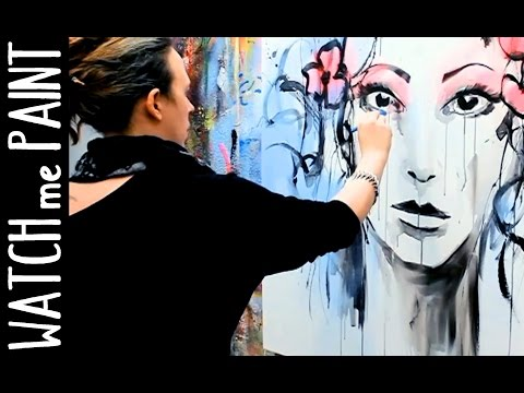 Abstract acrylic portrait Painting Speedpainting demonstration by zAcheR-fineT