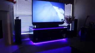 Home Theater System And Custom Entertainment Cabinet With Led Lighting
