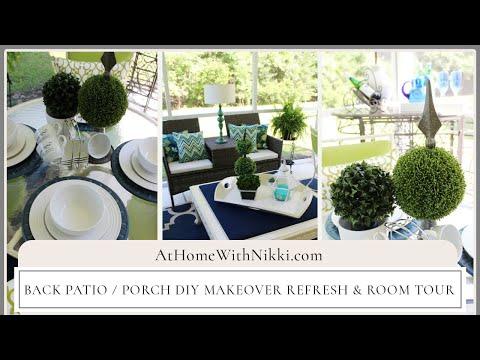 Back Patio / Porch DIY Makeover Refresh & Room Tour