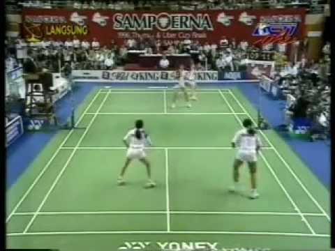 Final Uber Cup di Hongkong - Lili T/Finarsih VS Qin Yiyuan/Tang Yongshu (Set 2) @ RCTI 25 Mei 1996