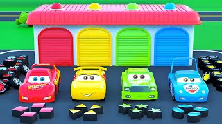 Color Garage with Change wheels Little Cars Trucks Excavators Police Cars Fire Trucks Stories