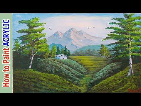 Akrilik ile MANZARA Resmi Nasıl Yapılır – 7   Acrylic Landscape Painting Techniques   Tutorials