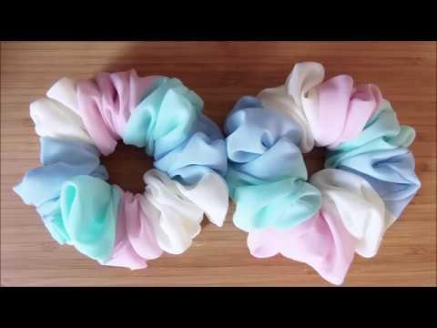 シフォンシュシュの作り方chiffon chouchou tutorial