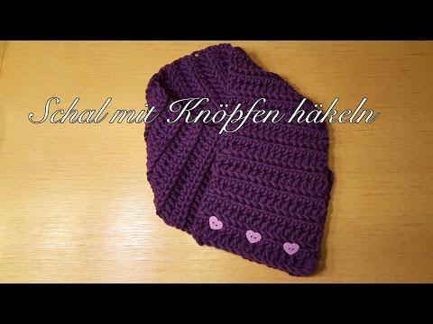 Schal mit Knöpfen häkeln Loop Schal Knopfschal für Kinder und Erwachsene