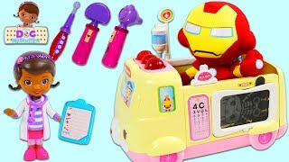 Ironman Superhero Vists Doc McStuffins Toy Ambulance Hospital!