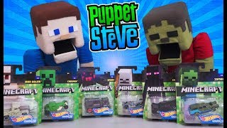 Hot Wheels Minecraft Character Cars RACE Unboxing Review Die Cast Toy Set Puppet Steve