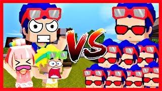 Mini world: Bộ 3 bá đạo vs 1000 Phong Cận Yandere | Thử thách tiêu diệt Yandere lấy 100 kim cương