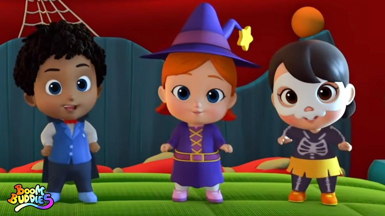 Cinco pequeños monstruos | Halloween para niños | Boom Buddies Español | Dibujos animados