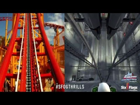 Six Flags Over Georgia 'The New Revolution' POV & Virtual Reality Video Roller Coaster NEW FOR 2016