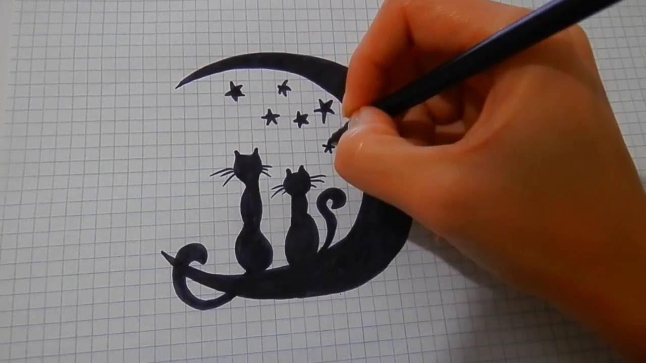 рисунки черным фломастером на бумаге легкие и красивые