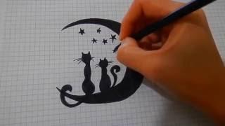 Скетчбук Как нарисовать котиков # 27/Парочка/ Sketchbook How to draw cats/ Сats