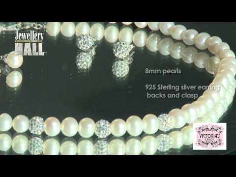 Freshwater Pearl Necklace And Crystal Ball Set