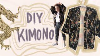 DIY Kimono nähen ohne Schnittmuster und mit Nähanleitung. Super einfach und für Anfänger geeignet.