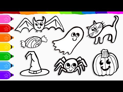 7 Halloween Drawings, Coloring with Marker, Learn to Color