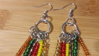 Seed Bead Charm Earrings Tutorial-DIY