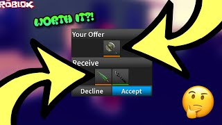 TRADING A POSSESSED AXE FOR A HOLIDAY BLADE! *WORTH IT?! * (ROBLOX ASSASSIN INSANE TRADES)