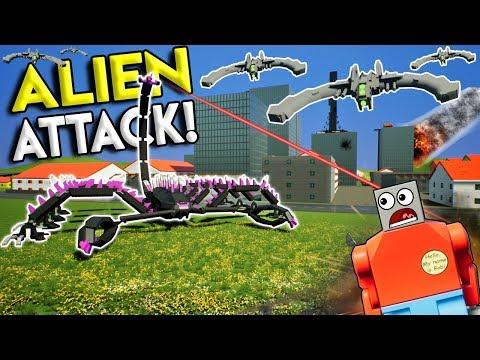 LEGO ALIEN SWARM BATTLES LEGO CITY! - Brick Rigs Gameplay Roleplay & Creations - UFO Invasion