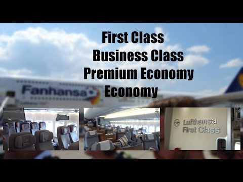 """Lufthansa """"Siegerflieger"""" 747-8i I NEW Cabin Review I First - Business - Premium Eco -Economy"""