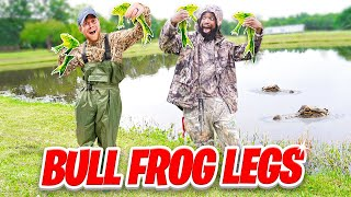Catch And Cook Fried BULL FROGS From The Swamp!