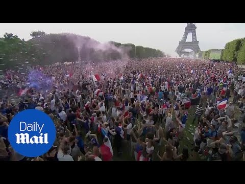 Fans celebrate in Paris as France beat Croatia 4-2 to win World Cup - Daily Mail