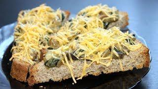 Бутерброды со шпинатом и грибами. Сытный рецепт