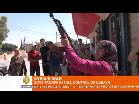 20130605   Homs   Al Qusayr City   AJE   3   Assad supporters celibrate after fall of Qusayr