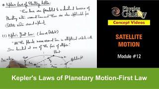 12. Physics | Satellite Motion | Kepler's Laws of Planetary Motion-First Law | Ashish Arora