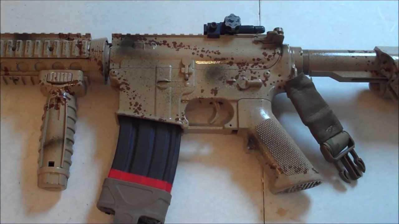 custom paint job on kwa m4 airsoft gun tenergy ca crane stock