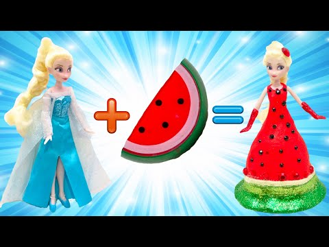 DIY How to make Play Doh Fruits Dresses Frozen Elsa and Anna Costume Makeup LOL Surprise Dolls - 동영상