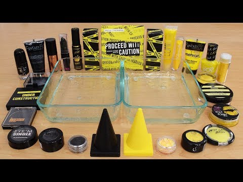 Black vs Yellow - Mixing Makeup Eyeshadow Into Slime Special Series 230 Satisfying Slime Video