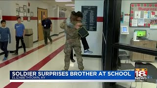 Soldier Surprises Brother At School