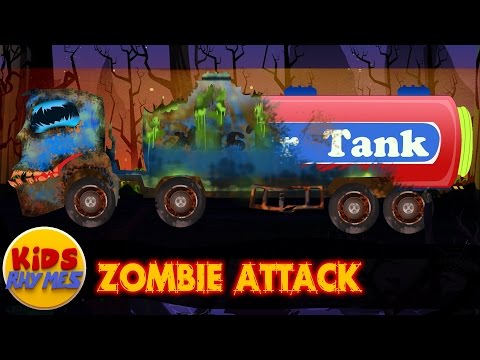 Zombie attack | water tank | good becomes evil | scary vehicles for kids
