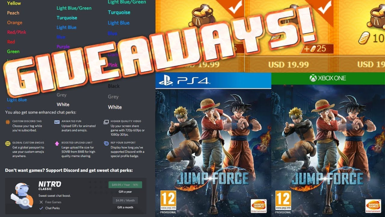 Giveaway! Free Ingots, Jump Force, Discord Nitro and More!