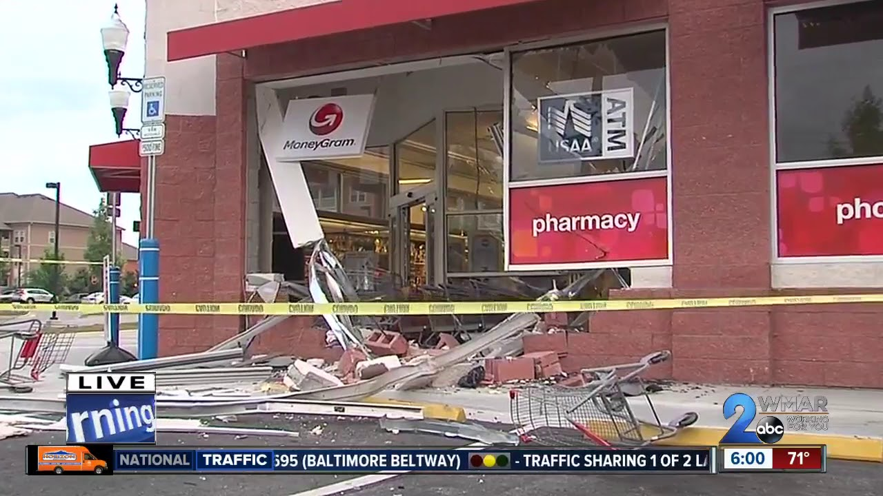 vehicle slams into cvs store in odenton youtube
