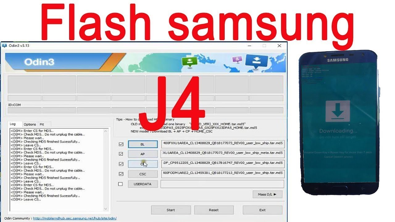how to flash samsung j4